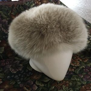 Vintage Real Silver Fox Fur Hat
